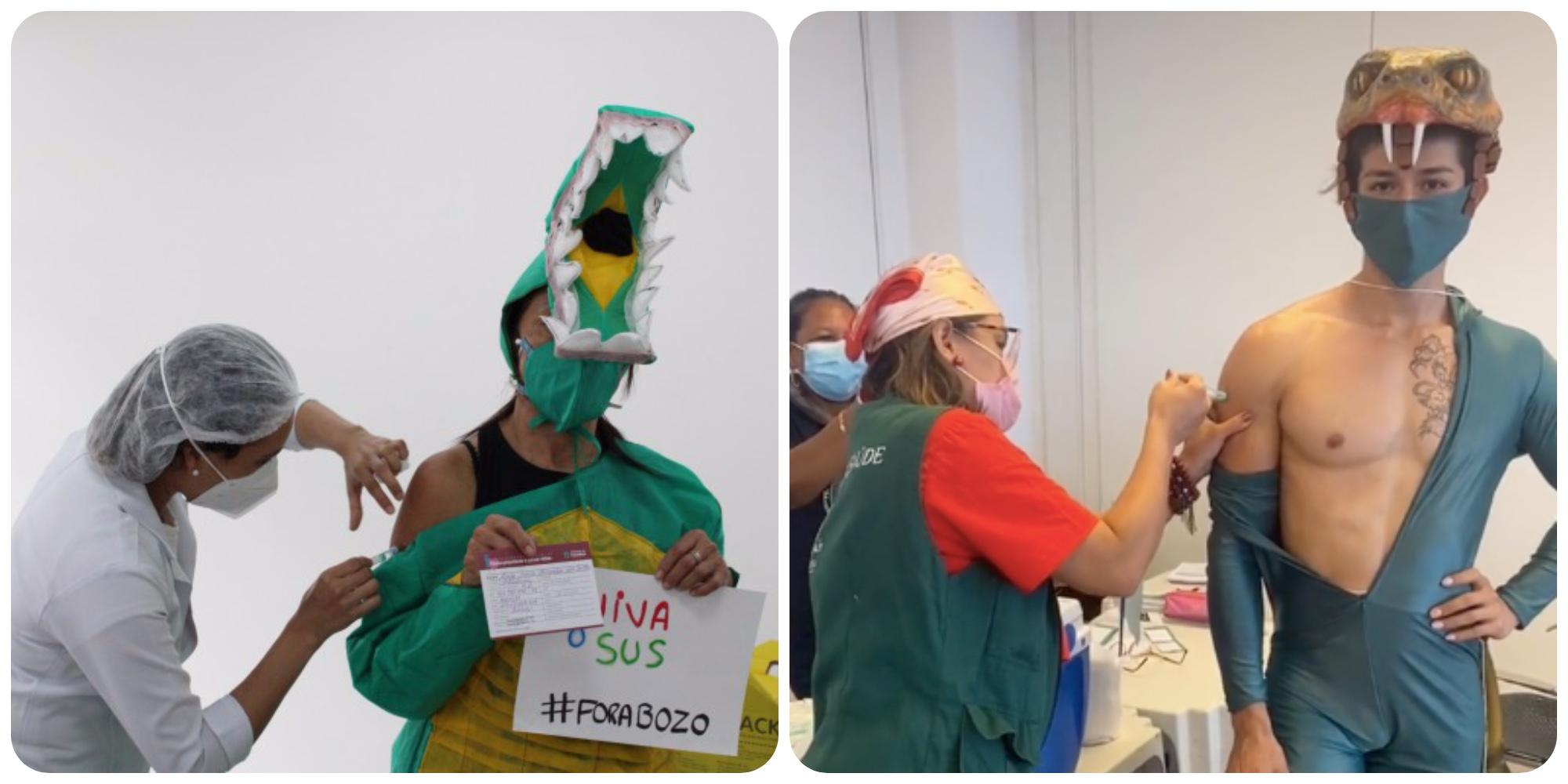 Covid-19 : au Brésil, ils se font vacciner déguisés en crocodile pour dénoncer le président Bolsonaro