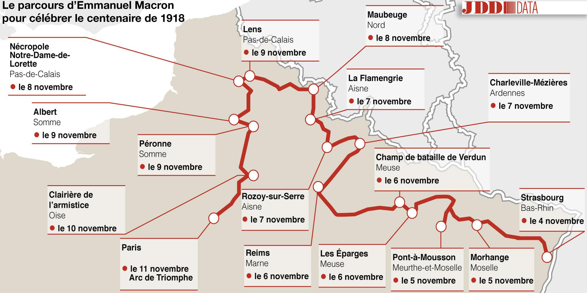 CARTE Ou Se Rendra Emmanuel Macron Pour Le Centenaire De La Grande Guerre
