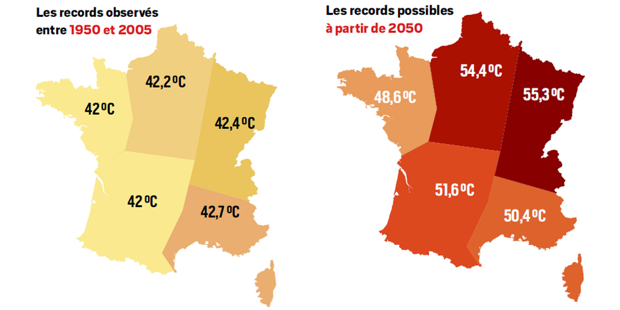 Carte Climat Europe 2050.En 2050 Des Pics A 55 Degres Dans L Est Et Le Nord