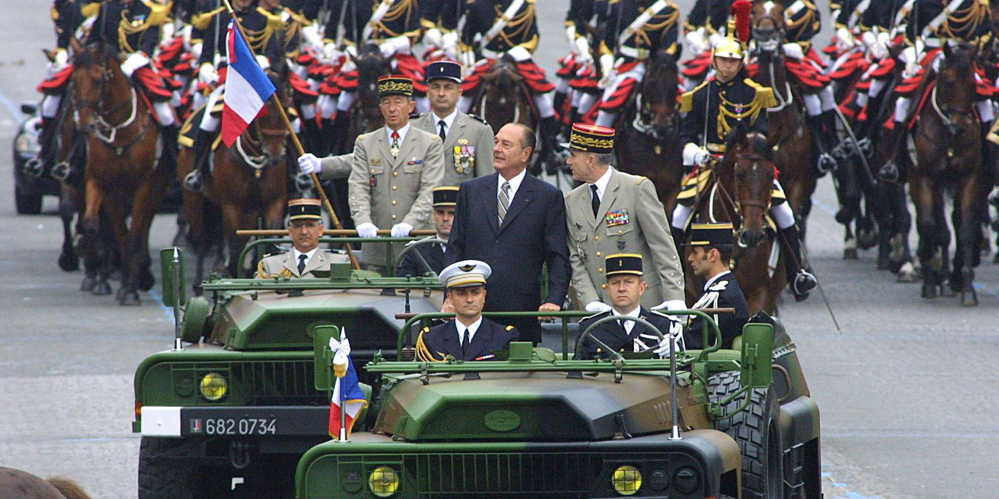 Image result for jacques chirac defilee